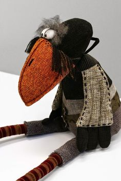 Our Creations - MOCKIS - handmade toys from Lithuania Fabric Animals, Sock Animals, Fabric Birds, Fabric Art, Textile Sculpture, Soft Sculpture, Couture Main, Creation Couture, Sewing Dolls