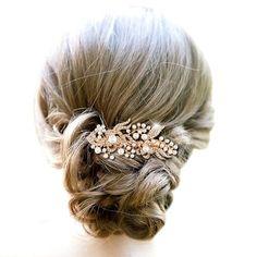 EVER FAITH® Kristall Blume Warm Weiß Farbe Künstlicher Perlen Haarkamm Haarschmuck Rose-Gold-Ton