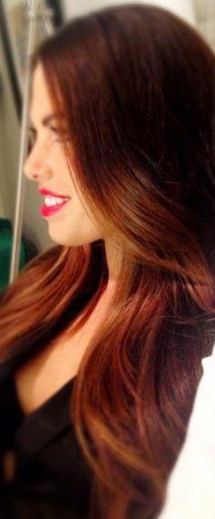 Long / Brown / auburn / hair / balayage / brunette / soft ombré / hair color / wavy / shiny