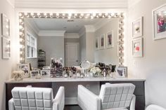 """The """"glam room"""" on the second floor features white swivel chairs and a wall of mirrors. Vanity Area, Inside Home, Glam Room, Home Comforts, Swivel Chair, Second Floor, Building A House, Sweet Home, Flooring"""