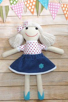Here is Matildasworld15 rag doll, an adorable treat for girls.     Even older girls love to play with them.     She comes with removable dress up skirt.   ******************************************************************************  My dolls are handmade from high quality materials, meticulously and carefully sewn, every small detail matters! Featuring hand embriodered and applied details. it's made of beautiful cotton fabric, high quality felt and stuffed with anti-allergic fiber filling…