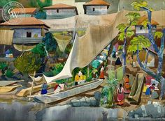 Millard Sheets - The Return, 1953 - California art - fine art print for sale, giclee watercolor print - Californiawatercolor.com