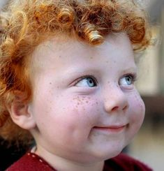 Perfect freckles, blue eyes, dimples, and red curls.and mischief written all over this little face! Precious Children, Beautiful Children, Beautiful Babies, Beautiful People, Cute Kids, Cute Babies, Funny Kids, Kind Photo, Red Curls