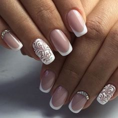 Beautiful French nails, Beautiful wedding nails, Festive French nails, Festive…