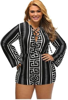0f2dae916d1 Women s Plus Size Black Long Sleeve Short Romper