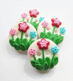 Flowers Garden -set of 4 polymer clay buttons