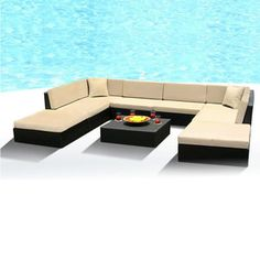 Purchase this beautiful outdoor patio sofa set from MangoHome on OpenSky. Outdoor Wicker Patio Furniture, Fire Pit Furniture, Patio Furniture Sets, Furniture Covers, Outdoor Sectional, Sectional Sofa, Couch Set, Resin, Internet