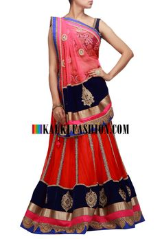 Buy it now http://www.kalkifashion.com/orange-and-pink-lehenga-choli-with-moti-and-zardosi-embroidery.html Orange and pink lehenga choli with moti and zardosi embroidery