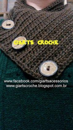 CROCHE, MODA E ACESSÓRIOS by giarts: Maxi Gola Transpassada