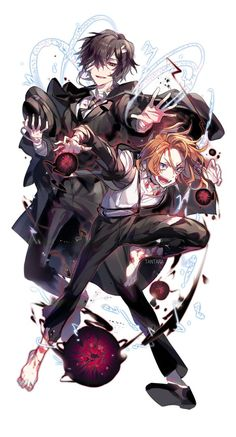 Bungou Stray Dogs. Chuuya and Dazai Credits to the artist