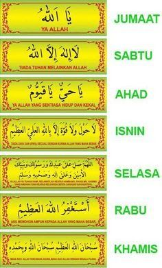 Recite this zikir according to the days given. Make it routinely. Islamic Quotes Wallpaper, Islamic Love Quotes, Islamic Inspirational Quotes, Muslim Quotes, Religious Quotes, Mecca Wallpaper, Doa Islam, Islam Muslim, Reminder Quotes