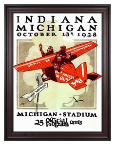 1928 Michigan Wolverines vs Indiana Hoosiers 30 x 40 Framed Canvas Historic Football Print