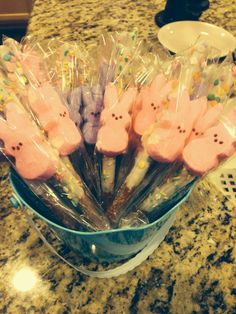 Peeps on a chocolate covered pretzel stick. Yummy.