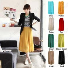Discount China china wholesale Women Chiffon Pleated Elastic Waistband Long Skirt 8 Colors [30407] - US$15.61 : DealsChic
