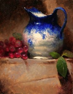 Flo Blue with Red Grapes by Kathy Tate Oil ~ 14 x 11