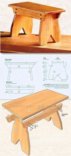 Foot Stool Plans - Furniture Plans and Projects #WoodworkingProjectsEasy