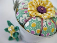 Pincushion Pail with Blossoms in Spring Morning. $12.00, via Etsy.