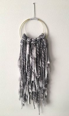 This gray, knotted double ring weaving will style to your bedroom, living room or office. Celebrate handmade intricacies with a one of kind work. Macrame Wall Hanging Diy, Hanging Wall Art, Wall Hangings, Driftwood Macrame, Driftwood Ideas, Dreams Catcher, Grey Home Decor, Modern Decor, Cat Wall