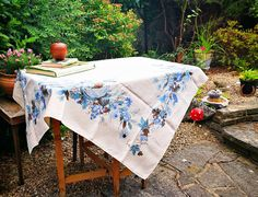 Mid century modern tablecloth . Designer Luther Travis linens table cloth . Large rectangle tablecloth . Blue flowers leaves fruit design