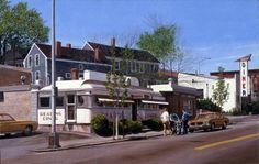 """""""Reading Diner"""" - photo realistic #painting by John Baeder. #Oil on canvas (1975)"""