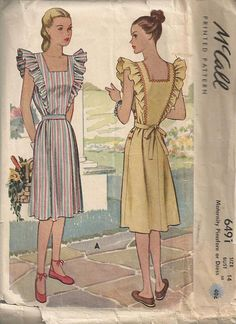 McCall 6491;Vintage Sewing Pattern; Maternity Pinafore or Dress ©1946  Size 14 Bust 32  Cut and complete  The envelope is in pretty good vintage