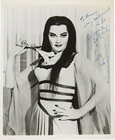 "A rare inscribed press shot of cult star Yvonne ""Lily Munster"" De Carlo, circa 1960s!"