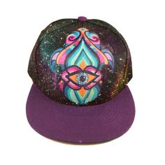 Kiss the Sky- Manik Apparel- Hand Painted Snapback Hat- Hamsa with Galaxy Background