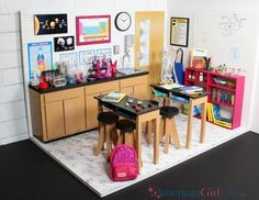 DIY American Girl Dollhouse Science Lab Classroom Here it is, corner room number. Doll stuff DIY A American Girl Doll Room, American Girl House, American Girl Crafts, American Girl Dollhouse, American Girls, Girls Dollhouse, Diy Dollhouse, Girls Furniture, American Girl Furniture