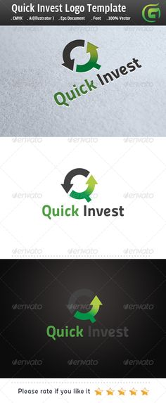 Quick Invest: Letter Logo Design Template by legendlogo. Logo Design Template, Logo Templates, Three Letter Logos, Typography Logo, Lettering, Agriculture Logo, Finance Logo, Portfolio Logo, Information Graphics
