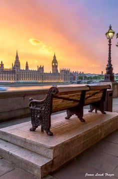 """Sunset over Parliament and Big Ben on The River Thames, London, England. Photography: """"Bench on the Thames"""", by James Frazer Big Ben, London City, London Museums, London Places, London Hotels, London Restaurants, Places Around The World, Around The Worlds, Places To Travel"""