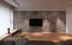 Stone Feature Wall, Feature Wall Living Room, Feature Walls, Interior Walls, Interior And Exterior, Natural Stone Cladding, Living Tv, Modern Living, Thin Stone Veneer