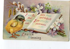 Vintage Easter Blessing Postcard Angels by sharonfostervintage, $2.50