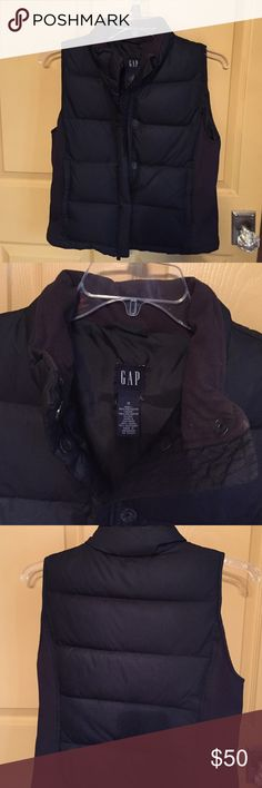 Black Puffy Vest- GAP Size Small GAP Black puffy vest. Zip front with snaps. Zip pockets. Excellent condition! Smoke free & pet free home. GAP Jackets & Coats Vests