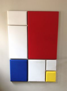 Acoustic absorption panels masquerading as Mondrian art.