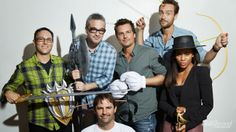 So much awesome in one photo. #SleepyHollow showrunner Mark Goffman, co-creators Alex Kurtzman and Robert Orci (#Fringe), EP Len Wiseman (#Underworld) with stars Tom Mison and Nicole Beharie @Pia Rojas