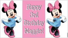 Custom Disney Minnie Mouse Birthday Party Banner Decorations - A beautiful showpiece for your child's birthday and a wonderful keepsake. Dimensions: 3' x 1.6' Printed on high quality, white 10oz. vinyl, which is flexible material with a matte finish and is fade-resistant, tear-resistant, and flame-retardant. Banners are professionally printed and are shipped rolled. Your banner will never be folded, so it will have no creases. $29.95