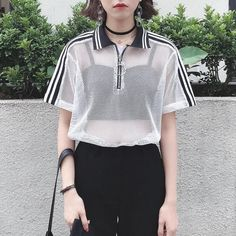 itGirl Shop MESH WHITE BLACK SPORTISH CROP TOP RING FRONT ZIPPER POLO T-SHIRT Aesthetic Apparel, Tumblr Clothes, Soft Grunge, Pastel goth, Harajuku fashion. Korean and Japan Style looks