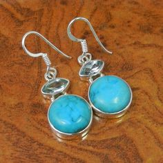 TURQUOISE & BLUE TOPAZ 925 STERLING SILVER FANCY EARRING 5.21g SJER0069 #Handmade #Earring
