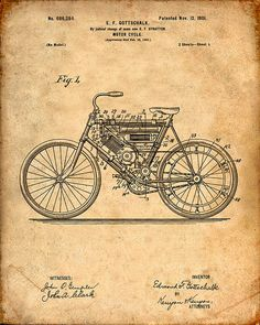 This is a print of the patent drawing for a motorcycle patent in 1901. The original patent has been cleaned up and enhanced to create an attractive display piece for your home or office. This is a great way to put your interests and hobbies on display. Wonderful gift idea as well.  The image is printed on professional, acid free, archival matte fine art paper giving the image rich and vibrant colors. Prints are packaged in acid-free, moisture resistant sleeves, and shipped in rigid cardboard…