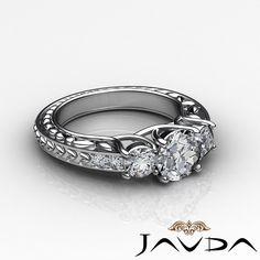 Three Stonr Fine Round Cut Diamond Engagement Ring GIA I VS2 Platinum 1 45 Ct | eBay