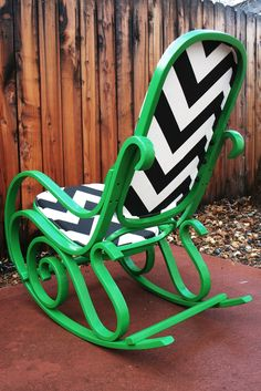 Thonet/ Bentwood Style Revamped Kelly Green Rocking Chair with Chevron Fabric.