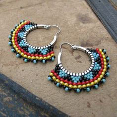 Tribal Hoop Earrings Beaded Boho Hoops Red black and by windyriver, $18.00