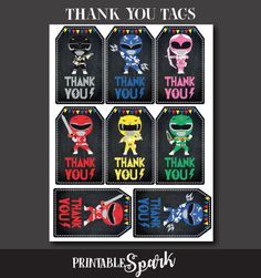 Power Rangers Thank You Tags Power Rangers Birthday Power