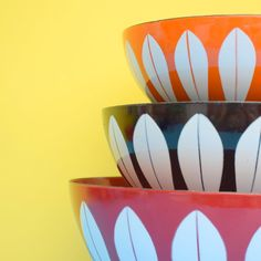 Vintage 1960s Huge Enamel Bowl - Cathrineholm of Norway -  Red & White
