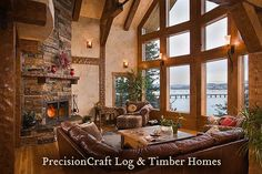 Located in Idaho | Great Room in a Timber Frame Home | by PrecisionCraft Timber Homes by PrecisionCraft Log Homes & Timber Frame, via Flickr