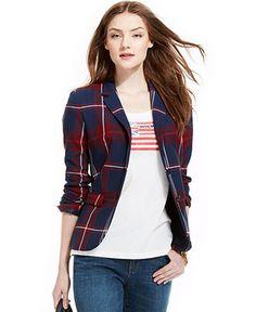 Tommy Hilfiger Plaid Blazer - Jackets & Blazers - Women - Macy's
