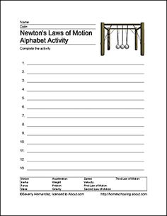 fun ways to learn about newton 39 s laws of motion word search worksheets and learning. Black Bedroom Furniture Sets. Home Design Ideas