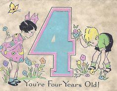 Vintage Birthday Card Children Four Years Old