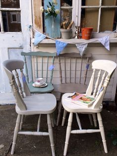 Set of 4 farmhouse cottage style mismatched vintage chairs MADE to ORDER on Etsy, $292.34