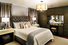 Another for the P's Master. In LOVE with the nightstands and the curtains. Great storage!